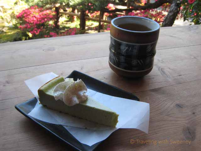 """Enjoying dessert on the terrace at the Japanese Tea Garden in Golden Gate Park, San Francisco in the spring"""