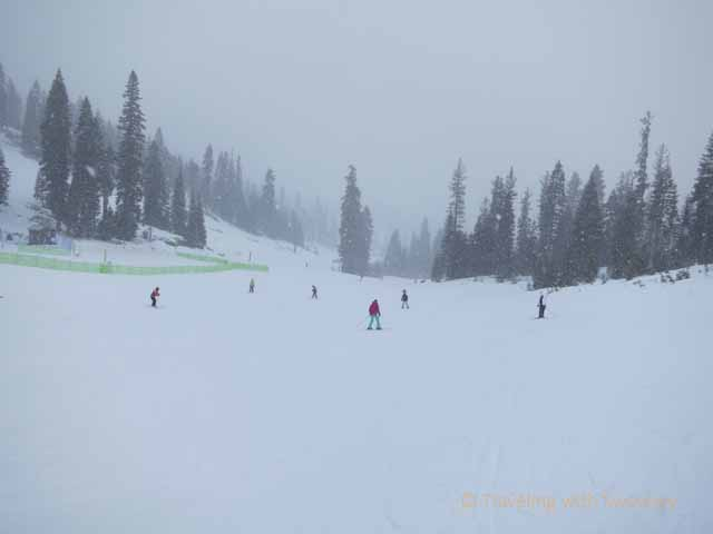 """Skiing on a blustery day at North Lake Tahoe"""