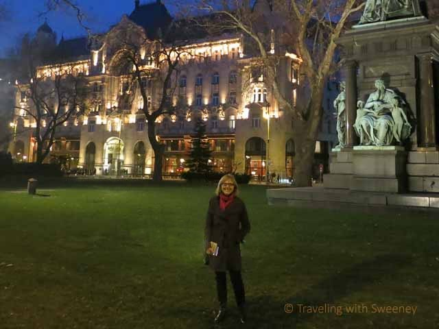 """The Four Seasons Gresham Palace exterior at night from the park"""