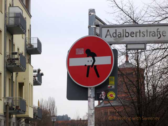 """Quirky, unauthorized sign on Adalbertstrasse in Kreuzberg borough of Berlin"""