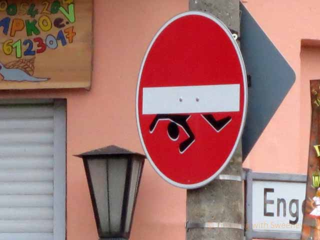 """Unauthorized, but amusing street sign in Kreuzberg borough of Berlin. Culprit being sought!"""