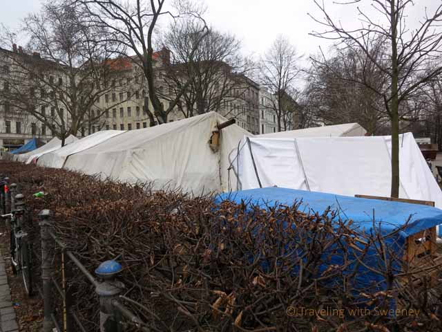 """Chimney on tent put up by protestors in Kreuzberg Berlin"""