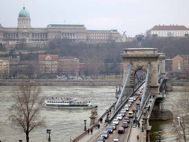 """View of the Chain Bridge and Royal Palace from the Danube River view room at the Four Seasons Gresham Palace, Budapest"""