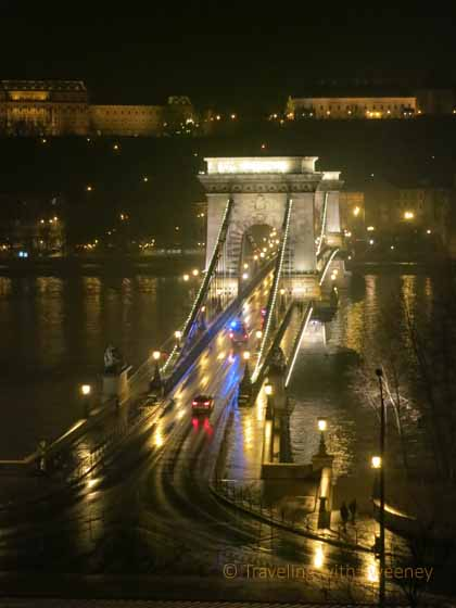 """Romantic night view of the Chain Bridge in the rain, Budapest"""