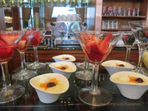 """Fruit and custard at brunch in the Gresham Restaurant at the Four Seasons, Budapest"""