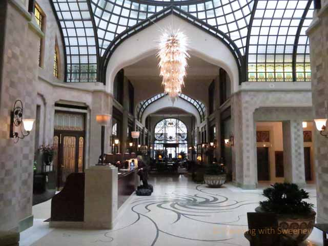 """Lovely lobby at Four Seasons, Budapest luxury hotel"""