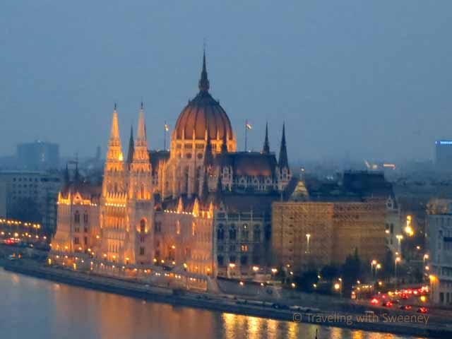 """Hungarian Paliament seen at night from Castle Hill, Budapest"""