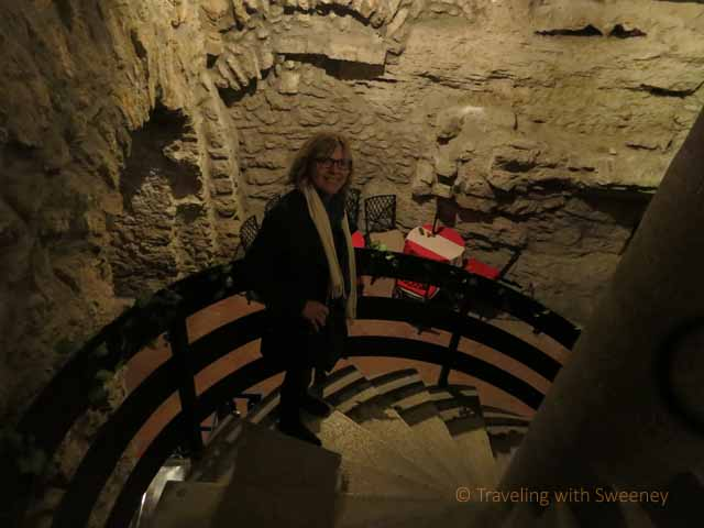 """Stairs leading from the Hilton Hotel down to the Faust Wine Cellar beneath Budapest"""