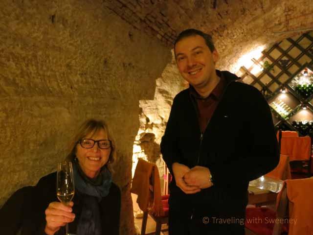 """Gabor of Faust Wine Cellar in Budapest beneath Budapest Hilton"""