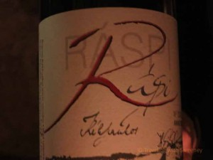 """Label on bottle of Raspi Hungarian wine at Faust Wine Cellar, Budapest"""