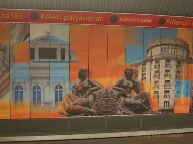 """Budapest Photos: Mural at Metro Station on the Red Line"""
