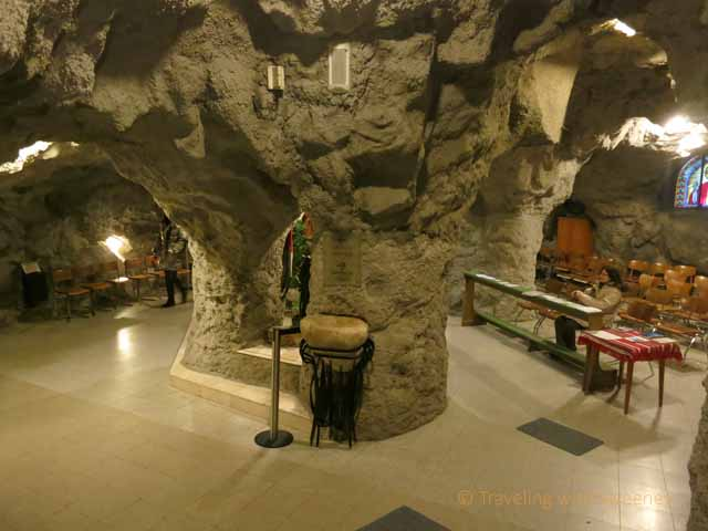 """Areas inside Cave Church carved through rock, Budapest"""
