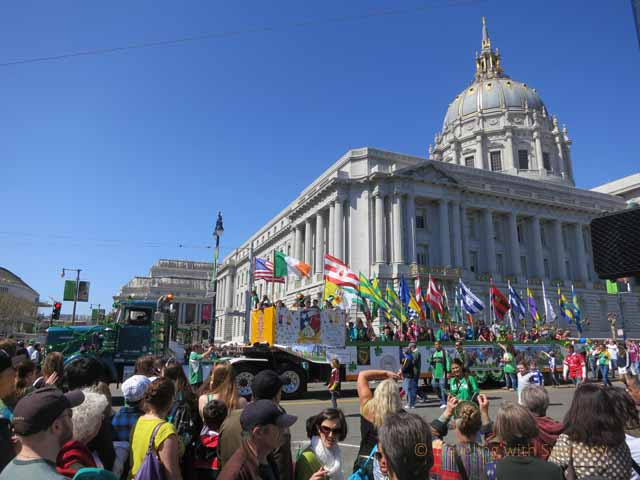 """Along the St. Patrick's Day parade route in front of the Civic Center building, San Francisco"