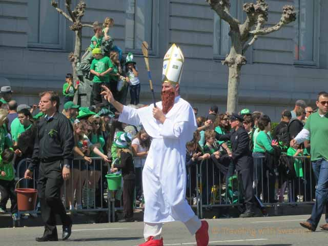 """Man dressed as St. Patrick in parade in San Francisco 2013"""