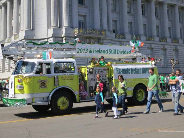 """Irish political statements on fire truck in the parade"""