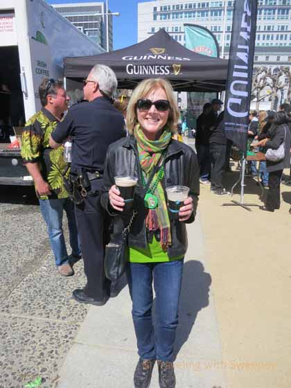 """Enjoying a Guinness (or two) in Civic Center Plaza, San Francisco"""