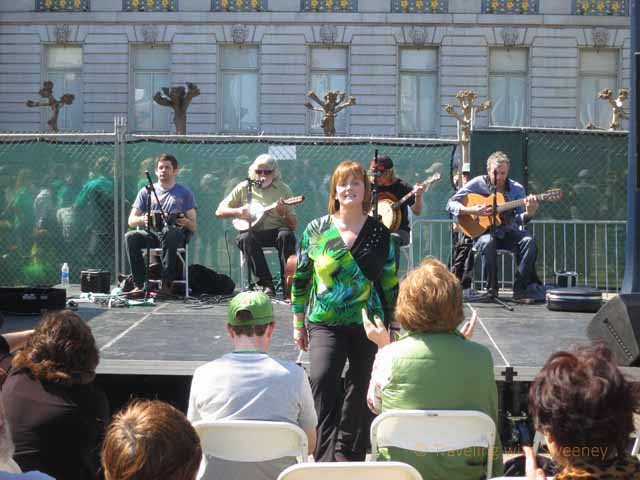 """Woman doing the Irish jig in Civic Center Plaza"""