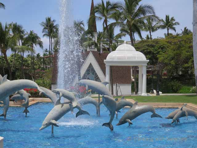 """""""Gathering of Dolphis sculpture by Edward Brownlee in the Refelcting Pool at Grand Wailea, Maui"""""""
