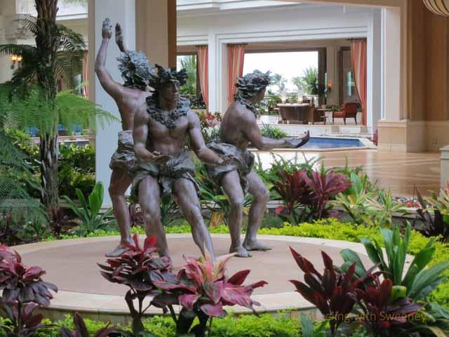 """Three Male Hula Dancers, sculpture by Jan Fisher at Grand Wailea, Maui"""