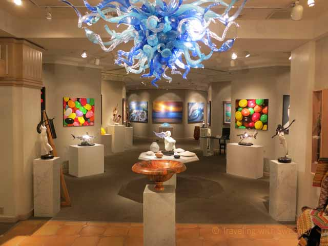 """""""Blue glass Dale Chihuly chandelier at entrace of NaPua Gallery at Grand Wailea, Maui"""""""