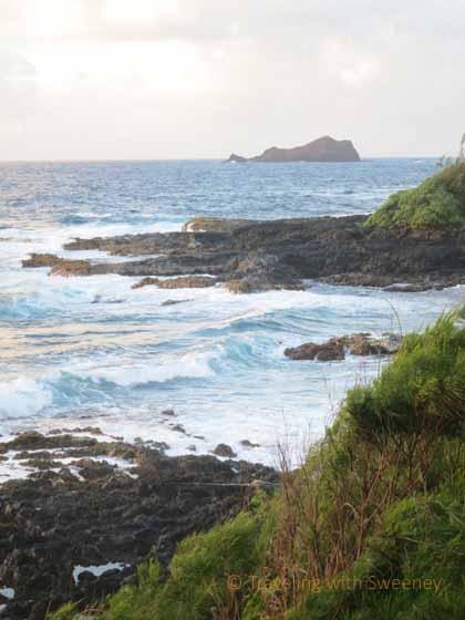 """Waves break along the Hana coastline in Maui"""