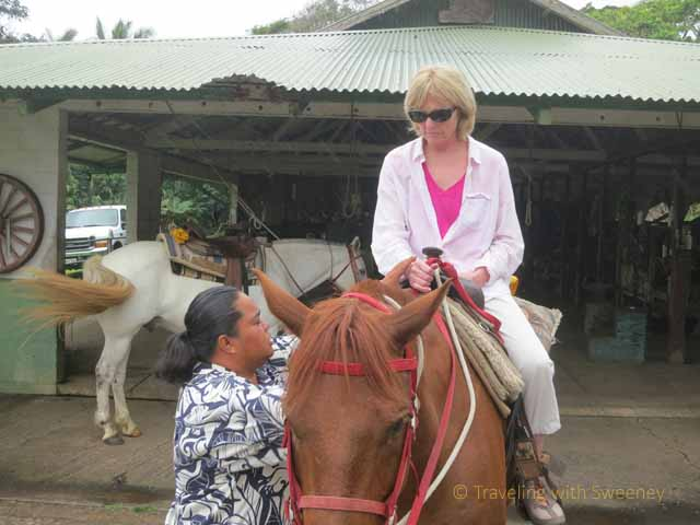 """Jolynn of Hana Riding Stables instructs Sweeney"""