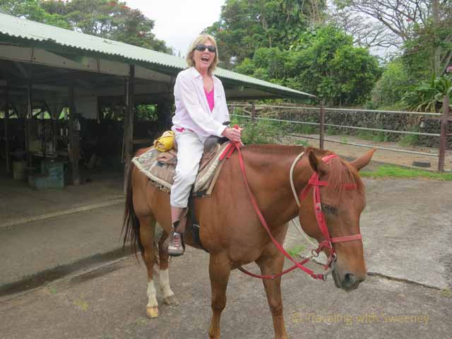 """Is this a frightened rider on Lukcy the horse at Hana Riding Stables in Maui?"""