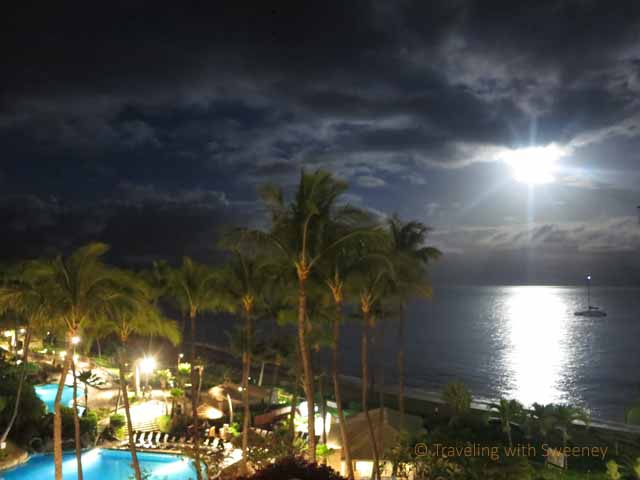 """Moon setting over the Pacific Ocean in the Hawaiian Islands taken from the Westin Maui Resort"""