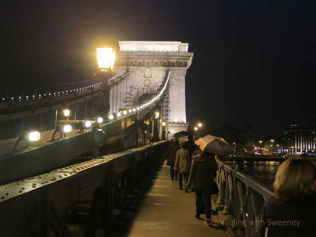 """Walking is a favorite way of getting around Budapest. This was in the rain across the Chain Bridge"""