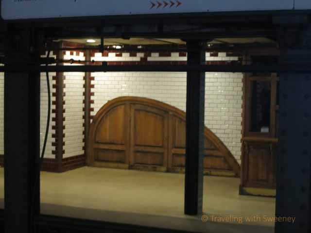 """Unusual woodworking and door at Metro station in Budapest"""