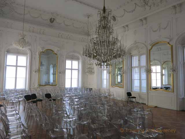 """Mirror Hall at Andrassy University German language school in the Palce District, Budapest District 8"""