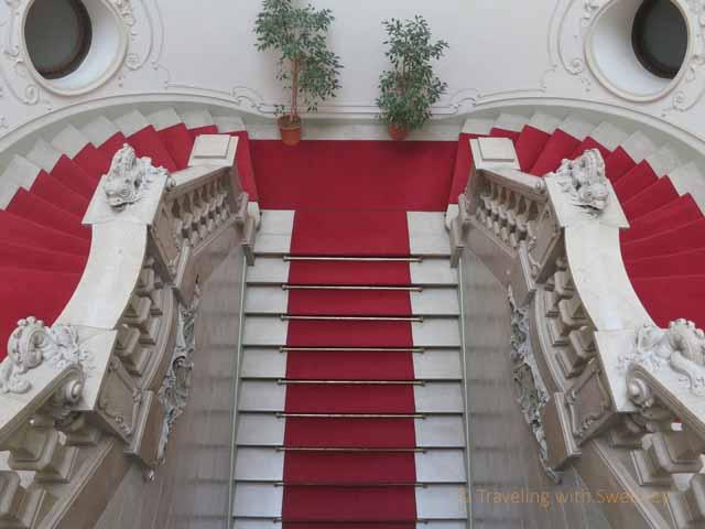 """Staircase with red carpet at Metropolitan Ervin Szabó Library, Budapest Palace District 8"""