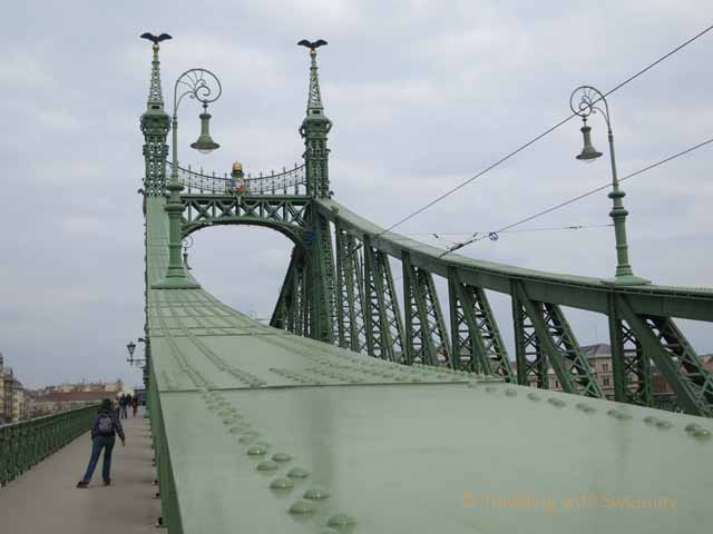 """Rollerblading is one way of getting around Budapest: This one is on Liberty Bridge"""