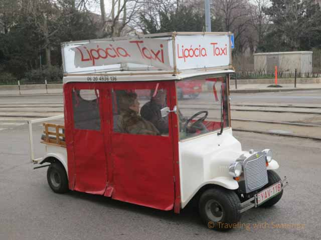 """One way of getting around Budapest: a Lipocia Taxi. This one was near Parliament"""
