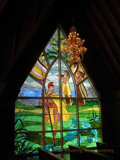 """""""The stained glass panels by Yvonne Cheng in the chapel at Grand Wailea tell stories of Hawaiian culture"""""""