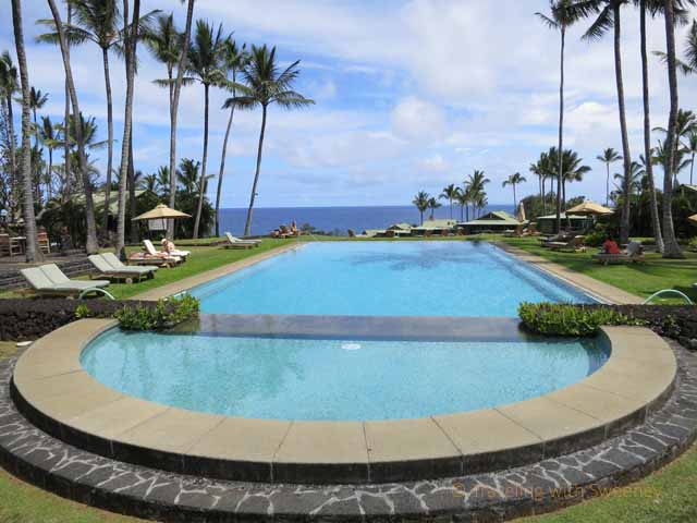 """Travaasa Hana pool with view of the ocean"""