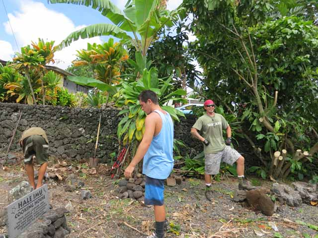 """One of five teams of student workers building hales in Maui as part of a competition"""