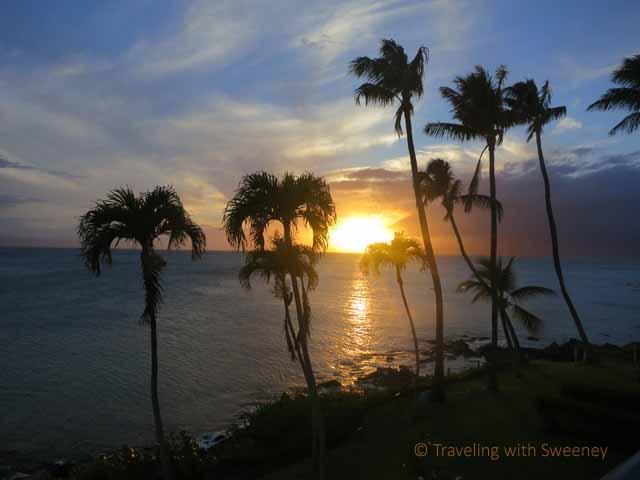 """Sunset seen through palm trees at Napili Kai Beach Resort, Maui"""