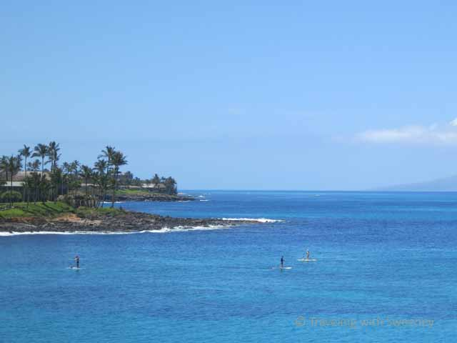 """""""Paddleboarders in the water: One of many activities at Napili Kai Beach Resort in Maui"""""""