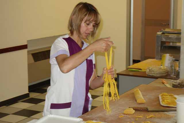 """Making fresh pasta at Antiche Sapori in Modigliana in the Emilia-Romagna region of Italy"""