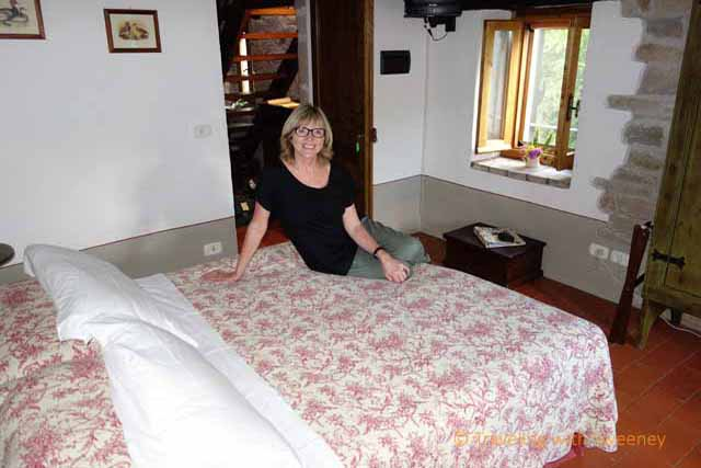 """One of five bedrooms at Torre Fantini B & B in the village of Tredozio, Italy"""