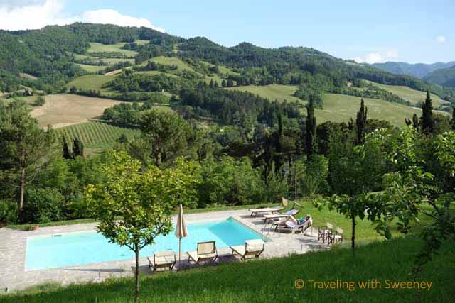 """""""Pool at Torre Fantini with a view of the mountains in Tredozio in the Emilia-Romagna region of Italy"""""""