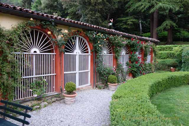 """Gardens and outer building of Palazzo Fantini in Tredozio, Italy"""