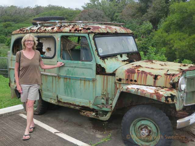 """Old dilapidated jeep previously used by a land owner to get around his Molokai property"""