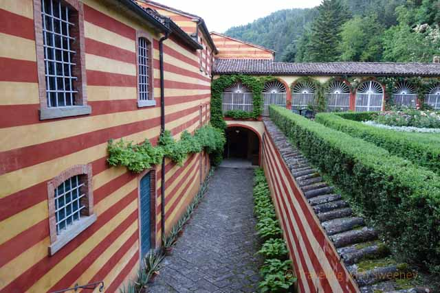 """""""Distinctly painted buildings of Palazzo Fantini - striped to differntiate them from the living quarters"""""""