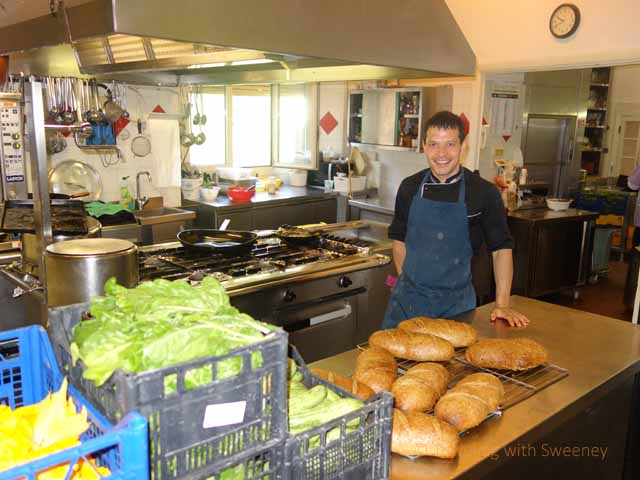 """Matteo Cameli in the kitchen of Al Vecchio Convento, Portico dei Romagna, Italy"""