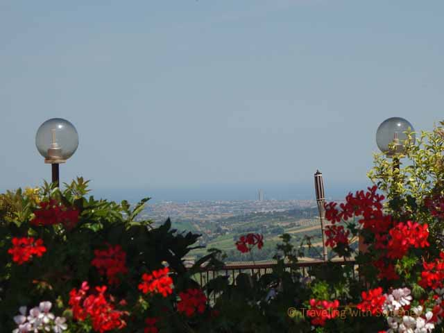 """View of Rimini and the Adriatic Sea from La Rocca, Verucchio"""