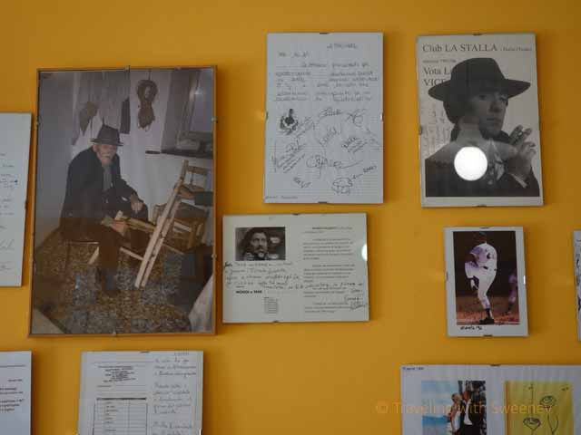 """Photos and letters on the wall of Trattoria Ciccioni, Pereto, Italy"""