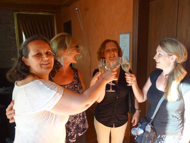 """""""Raising glasses for a toast with Silvia Santolini, owner of Le Case Antiche in Verucchio, Italy"""""""