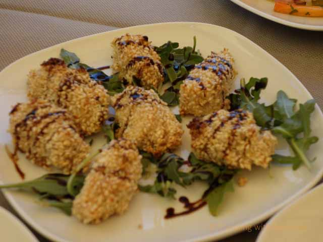 """Sesame crusted sea bass with pepper sauce at Balnearea Beach ristorante in Puglia"""